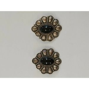 Sterling Silver Earrings Black Cabochon Indonesia